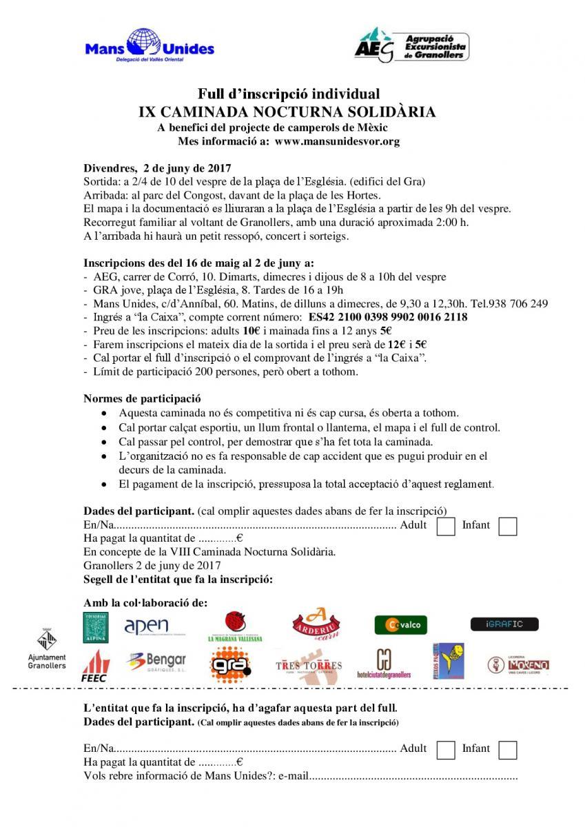 Hoja de inscripción a la Caminata Nocturna Solidaria de Granollers