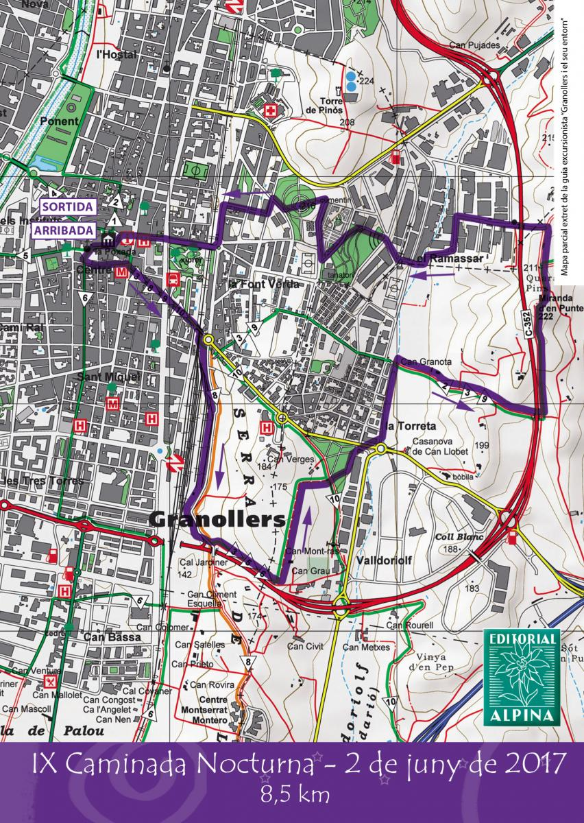 Mapa de la Caminata Nocturna Solidaria de Granollers