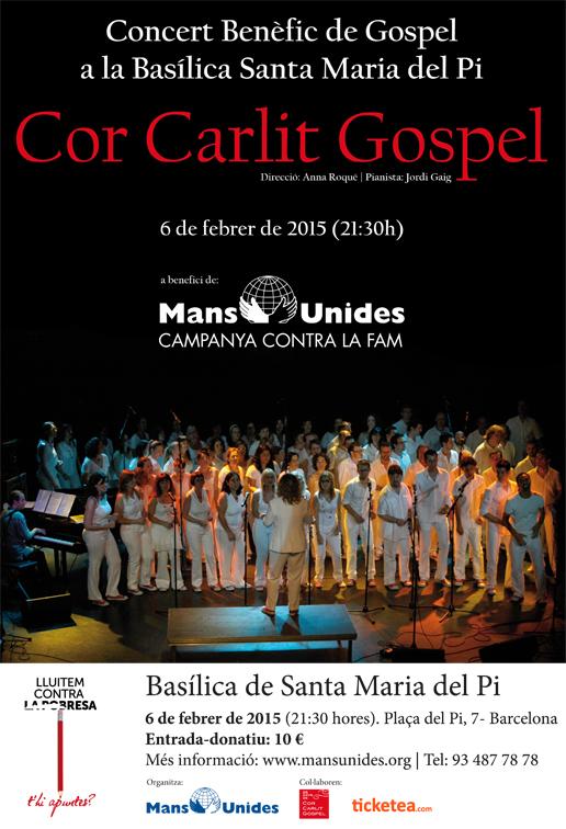 Cartell del concert de Cor Carlit Gospel a Barcelona