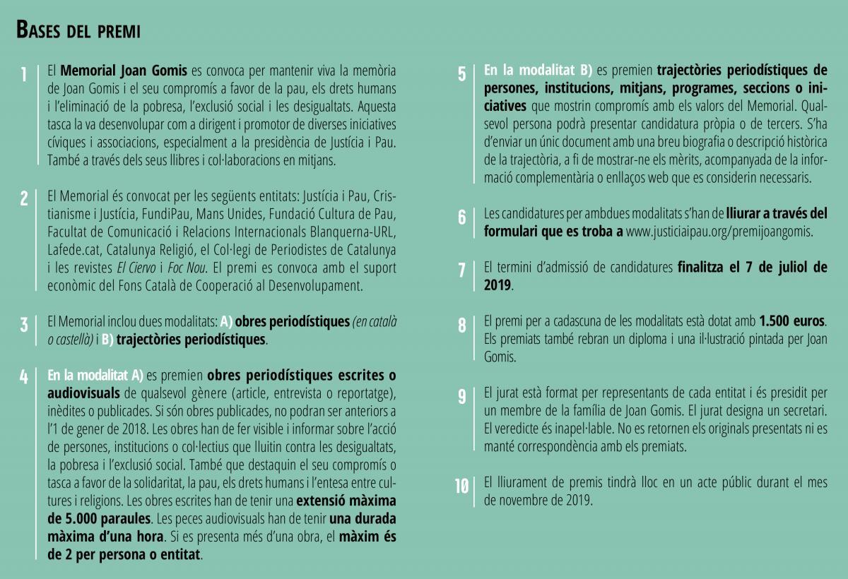 """Bases del Premi de Periodisme Solidari """"Memorial Joan Gomis"""" 2019"""