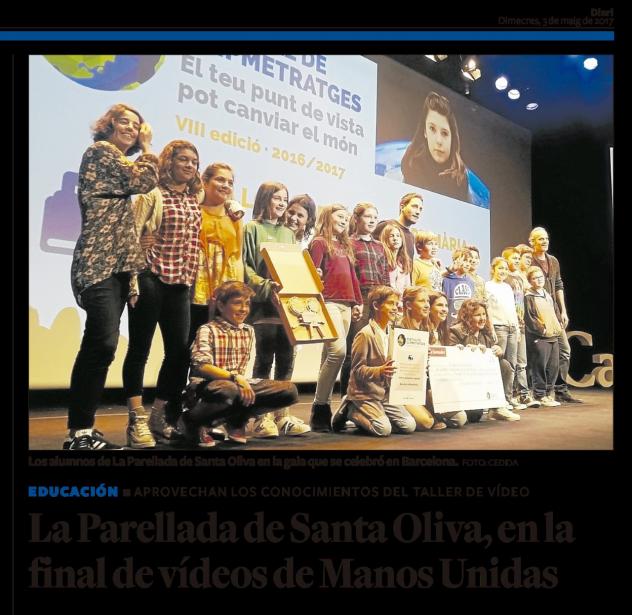 L'escola La Parellada de Santa Oliva a la final de Clipmetratges