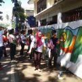 Pared pintada por alumnos