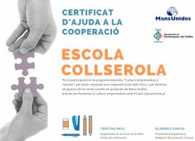 Diploma entregado a los alumnos de la escuela Collserola