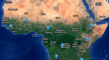 Mapa de los proyectos de emergencia contra el coronavirus en África