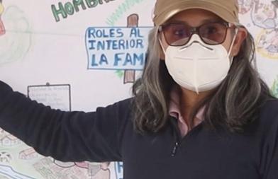 Raquel Reynoso en una formación en Ayachuco, Perú